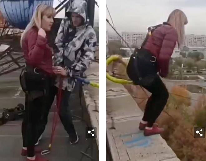 Video: Người phụ nữ nhảy mạo hiểm từ độ cao 25 mét và kết cục hãi hùng - 1