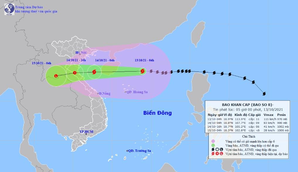 Bão số 8 đang đạt cường độ mạnh nhất, gió giật cấp 14, hướng vào Thanh Hóa-Quảng Bình - 1