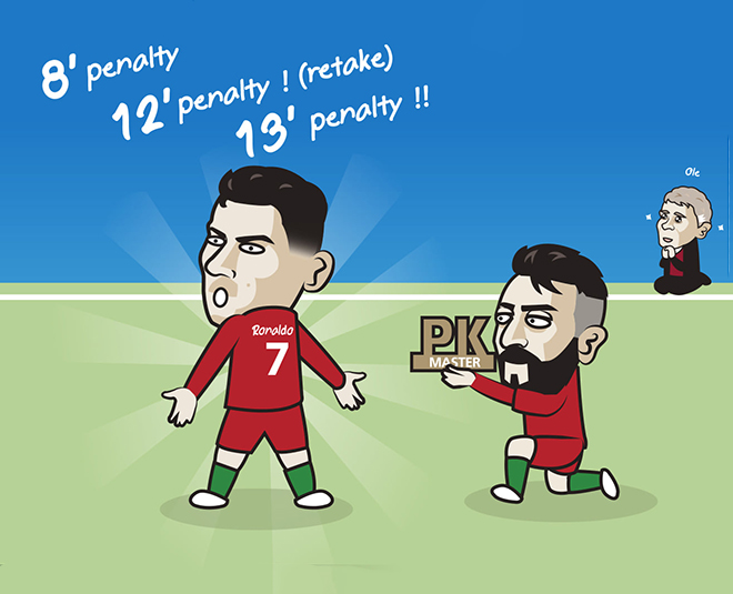 """Ảnh chế: Bruno Fernandes""""ngả mũ"""" với cú hat-trick penalty của Ronaldo - 1"""