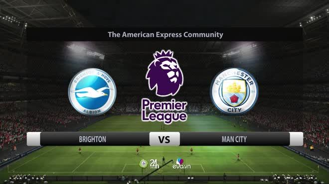Video bóng đá Brighton - Man City: Bùng nổ hiệp 1, mãn nhãn 5 bàn (Vòng 9 Ngoại hạng Anh)